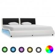 vidaXL fehér és fekete LED-es műbőr ágykeret 180 x 200 cm