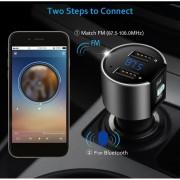 Reproductor De MP3 Del Coche Bluetooth Transmisor FM Adaptador De Radio Cargador De Doble Puerto USB-Gr