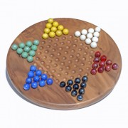 Classic Solid Walnut Wood Chinese Checkers Set with Glass Marbles