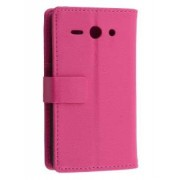 Synthetic Leather Wallet Case with Stand for Huawei Ascend Y530 - Huawei Leather Wallet Case (Pink)