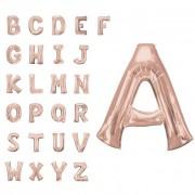 Liragram Globo de letra gigante rosa dorado de 86 cm - Letra C