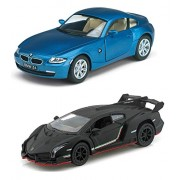 Playking Kinsmart Combo of BMW Z4 Coupe 1:32 and Lamborghini Veneno Scale Model 5'' Die Cast Metal, Doors Openable and Pull Back Action Car (Color May Vary)