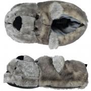 Merkloos Warme sloffen/pantoffels berenkop voor dames
