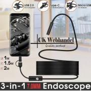 Endoscoop Camera - 7mm - 2 m - Flexibele Kabel - Snake Borescope - Inspectie camera - Android Smartphone - PC