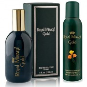 Royal Mirage Eau De Cologne Spray Gold 120ml + Royal Mirage Body Spray Gold 200ml