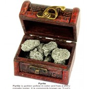 Pirate Treasure Chest Box of Pyrite. 10 pieces Fools Gold Nuggets in a Wooden Pirate Treasure Chest. Educational Card