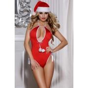 Erotické sexy dámské body vánoční červené pod stromeček