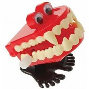Dozen Wind Up Chattering Vampire Halloween Hopping Teeth With Eyes