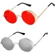 Rich Club Round Sunglasses(Red, Silver)