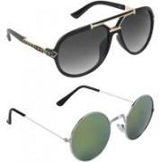 Zyaden Aviator, Round Sunglasses(Black, Green)