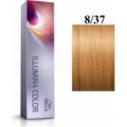 Wella Professionals Vopsea permanenta Wella Professionals Illumina Color 8/37 Blond Deschis Auriu Castaniu 60ml
