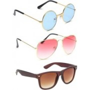 SO SHADES OF STYLE Wayfarer, Round, Aviator Sunglasses(Red, Brown, Blue)