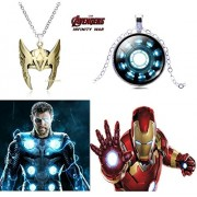 2 Pc AVENGER SET - THOR HELMET / CROWN GOLD COLOUR & IRONMAN ARCH REACTOR 3D GLASS DOME IMPORTED SILVER METAL PENDANTS WITH CHAIN ❤ LATEST ARRIVALS - RINGS, KEYCHAINS, BRACELET & T SHIRT - CAPTAIN AMERICA - AVENGERS - MARVEL - SHIELD - IRONMAN - HULK - TH