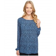 Michael Kors Textured Bayeux Long Sleeve Top Blue Indigo