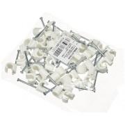 Cleme clips fixare cablu 7-11 mm, cu cui, 50 bucati, culoare alb