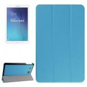Samsung Galaxy Tab E 9.6 horizontaal PU leren Flip Hoesje met drievouws houder (blauw)