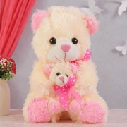 15 Inch Cream and Pink Mumma Baby Teddy Bear Plush Soft Toy