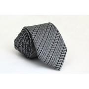 Pánská černá slim kravata s proužky - 6 cm