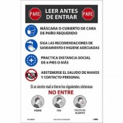 National Marker Pandemic Signage, Sign Message STOP. READ BEFORE ENTERING, Product Type Poster, Length 18, Model PST155CSP