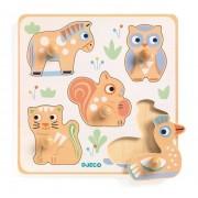 Drewniana układanka ze zwierzętami, drewniane puzzle z uchwytami 5 elementów DJECO DJ06107