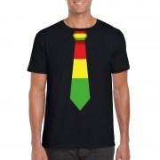 Shoppartners Zwart t-shirt met Limburgse vlag stropdas voor heren