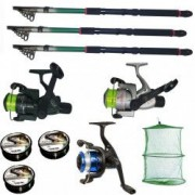 Set pescuit sportiv cu 3 lansete de 2.4m 3 mulinete 3 fire Cool Angel si juvelnic