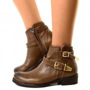 Biker Boots Ankle in Vera Pelle Vintage Marmo con Fibbie Dorate T: 36, 37, 38, 40