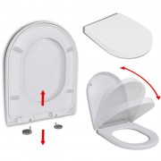 vidaXL Тоалетна седалка, плавно затваряне, бяла, квадратен дизайн
