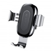 BASEUS Wireless Car Mount Charger Gravity Linkage Phone Holder for iPhone X/8/8 Plus Etc. (Not Support FOD Function) - Silver