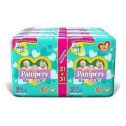 Pampers Baby-Dry Luiers - Maat 2 (3-6 KG) - 186 stuks