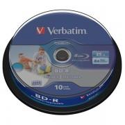 BD-R Verbatim SL DATALIFE 6X 25GB 10PK SPINDLE WIDE PRINTABLE NO ID (43804)