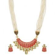 Zaveri Pearls Antique Gold Tone Traditional Moti Mala Kundan Necklace Set For Women-ZPFK7753