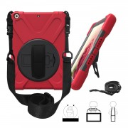 For iPad 9.7 (2018)/9.7 (2017) X-Shape 360 Degree Swivel PC + TPU Combo Kickstand Protective Shell with Hand Holder Strap and Shoulder Strap - Red
