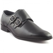 RU SHOES COMFORTABLE STYLISH CAW LEATHER FORMAL MONK STRAP SHOES FOR MEN WORK WEAR OFFICE WEAR LACE UP