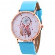 Reloj Correa De Cuero Patrón De Campanas De Viento Mujer-azul