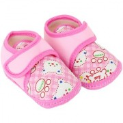 Neska Moda Baby Boys and Girls Pink Bear Cotton Velcro Anti Slip Booties For 0 To 12 Months