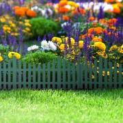 Virágágyás szegély / kerítés zöld, műanyag 60 x 23 cm