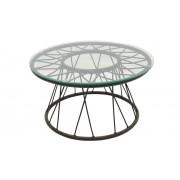 Totti okrugli stolić sa staklom D60x33 cm