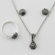 Set argint femei cu zircon negru