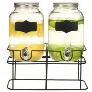 Sonata Комплект диспенсъри за напитки, 2 бр със стойка, 2x4 л, стъкло