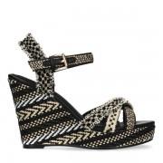 Sacha Zwarte sleehakken sandalen met print