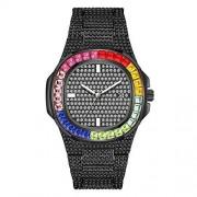 JinYin Reloj Iced out Colorido Reloj de Diamantes Completo para Hombre Reloj de Pulsera de Cuarzo de Moda de Lujo con Cristal Redondo de Bling