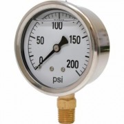 Valley Instrument 2 1/2Inch Stainless Steel Glycerin Gauge - 0-200 PSI