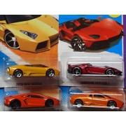 Hot wheels Detailed Diecast Lamborghini Replica-Bundle: Reventon Roadster No Top Twin #23 pr5, Aventador J No Top Twin #180 FTE, Aventador Black Wheel #12, Reventon pr5#71 {4 Pieces} 1/64 Scale