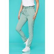 Pantaloni SunShine verde-deschis casual din material subtire cu elastic in talie si buzunare