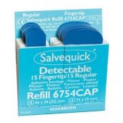 Salvequick navulling, 15 stuks blauw detecteerbare vingertop pleisters