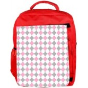 Snoogg Eco Friendly Canvas Abstract Design White Pattern Designer Backpack Rucksack School Travel Unisex Casual Canvas Bag Bookbag Satchel 5 L Backpack(Red)