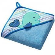 Бебешка хавлия с качулка и гъба за баня TERRY - синя, BabyOno, 5901435406939