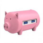 ORICO H4018-U3 Litte Pig HUB 3 Ports USB 3.0 HUB with TF + SD Card Reader(Pink)