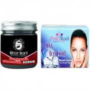 Pink Root Oxy Ice Cool Bleach 250gm WITH Mister Beard Activated Charcoal Scrub 100gm